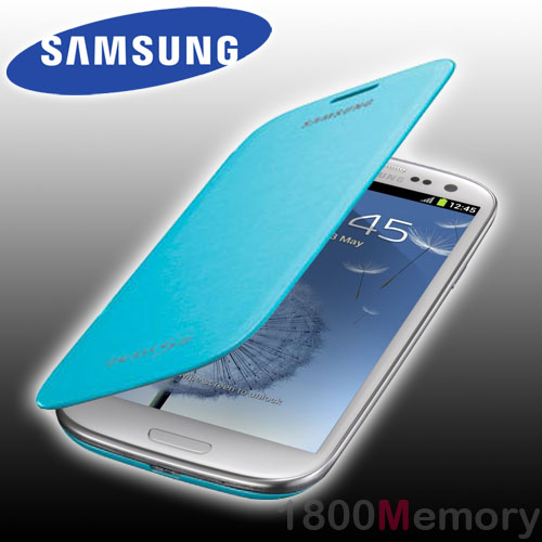 Genuine Samsung Galaxy S3 Flip Cover Case Gt I9300 I9305 I9306 I9307 Lght Blue Ebay