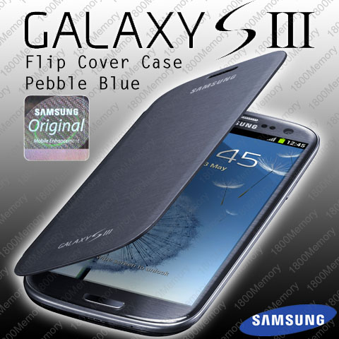 GENUINE-Samsung-Flip-Cover-Case-for-Galaxy-S-III-3-S3-GT-i9300-Pebble-Blue